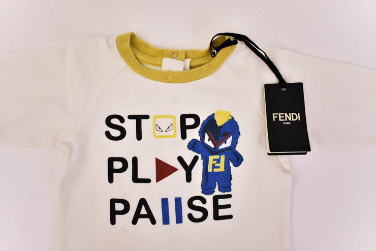 "FENDI Baby ""Monster"": Off-White ""FF"" Logo Long Sleeve One-Piece Sz: 6 Months"