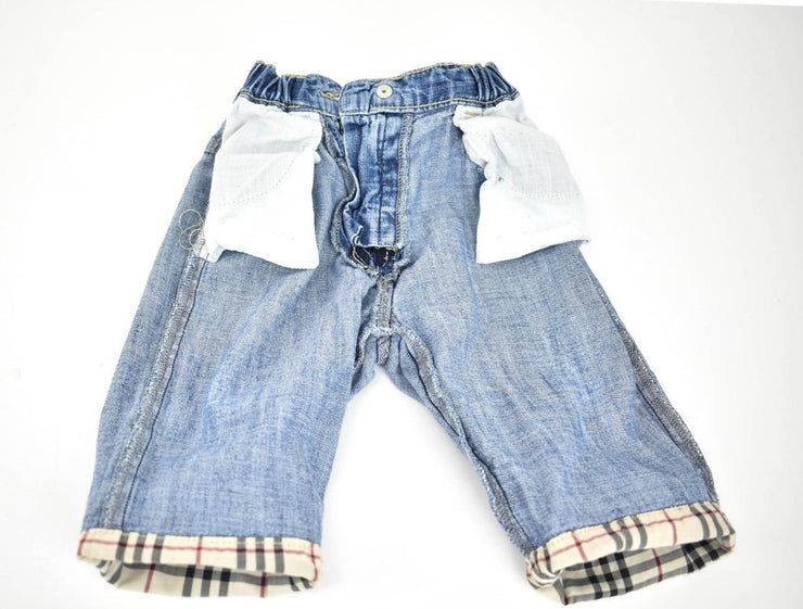 "BURBERRY Baby: Blue Denim & ""Nova Check"" Pants Sz: 6 months / 68cm - Unisex"