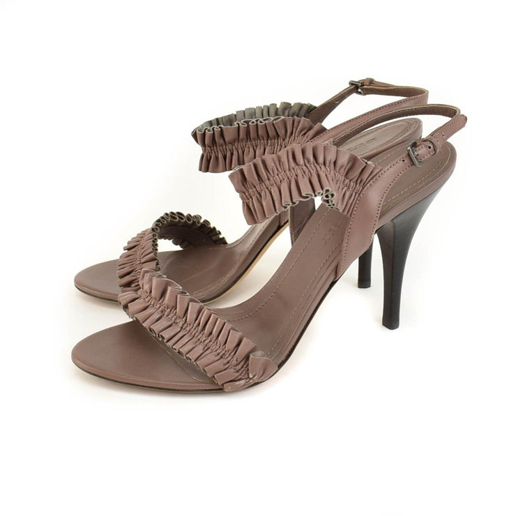 BURBERRY: Mauve Leather, Ruffled Heels/Sandals Sz:9M