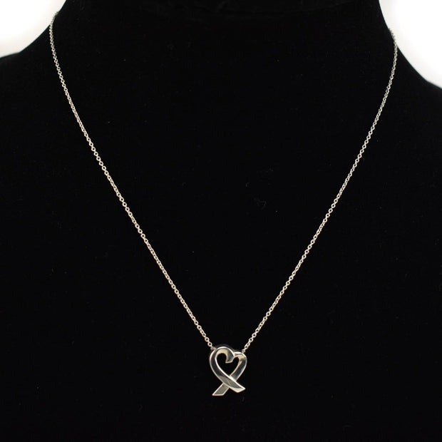 "TIFFANY & CO ""Paloma Picasso"": Sterling Silver ""Loving Heart"" Necklace (vz)"