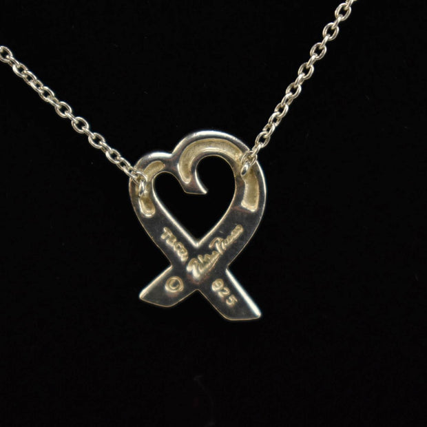 "TIFFANY & CO ""Paloma Picasso"": Sterling Silver ""Loving Heart"" Necklace (wq)"