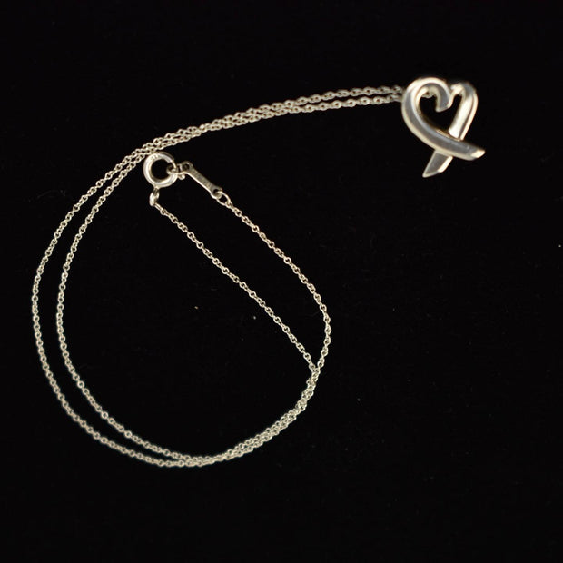 "TIFFANY & CO ""Paloma Picasso"": Sterling Silver ""Loving Heart"" Necklace (ws)"