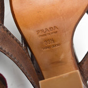 PRADA: Brown, Leather & Patent Color-Block Heels/Sandals Sz: 8M