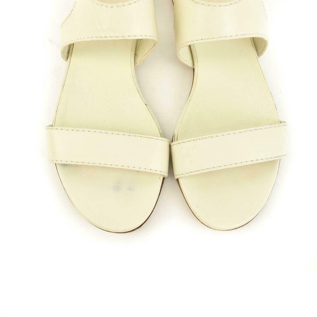 GUCCI: Off-White, Leather & Bamboo, Flat Sandals Sz: 5.5M