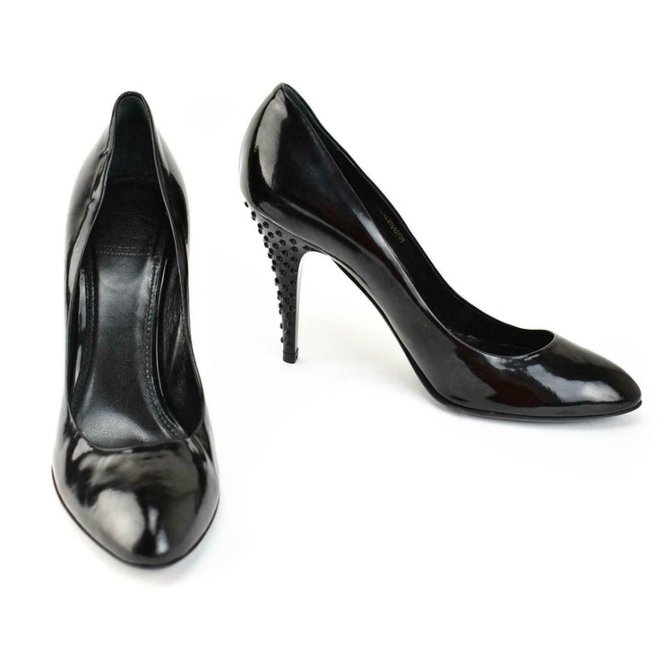 "BURBERRY: Black, Patent Leather ""Studded"" Heels/Pumps Sz: 8.5M"