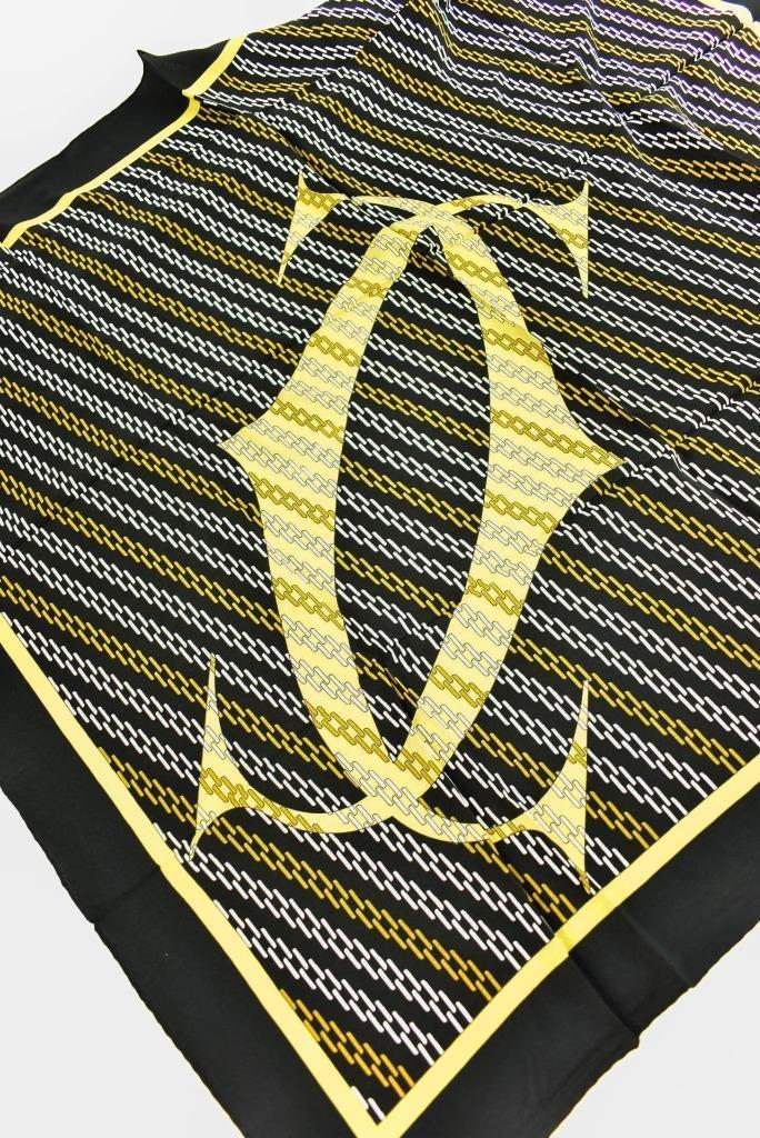 "CARTIER: Black, ""Double C"" Logo 100% Silk Twill, Scarf/Foulard 32"" x 32"" (mm)"