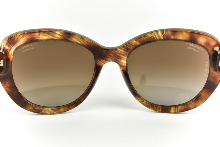 "CHANEL ""Cat Eye"": Tortoise/Havana Brown & ""CC"" Logo Polarized Sunglasses (ot)"