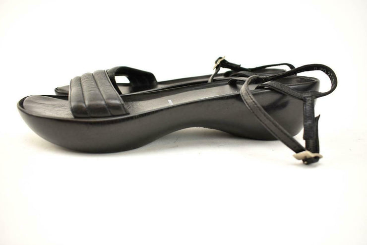 ROBERT CLERGERIE: Black, Leather Flat-form Sandals Sz: 9.5M