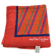 "CARTIER ""Must de"" Red, ""Double C"" Logo 100% Silk, Scarf/Foulard 32"" x 32"" (nm)"
