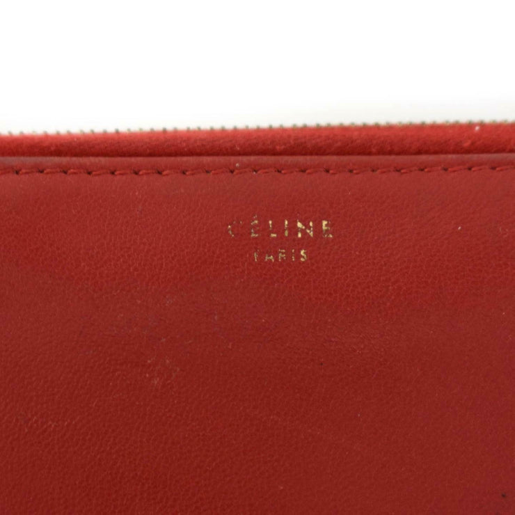 CELINE: Red, Color-Block Leather & Logo Long Zip-Around Wallet (mv)