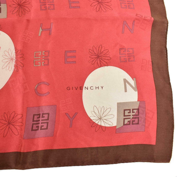 "GIVENCHY: Red/Brown, ""G"" Logo 100% Silk, Scarf/Foulard 31"" x 31"" (my)"