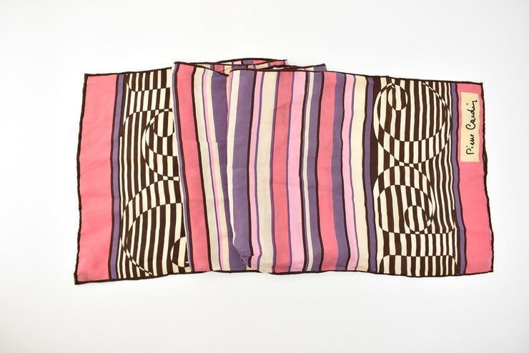 "PIERRE CARDIN: Pinks/Multicolor, 100% Silk, Long Scarf/Foulard 46"" x 10"" (px)"
