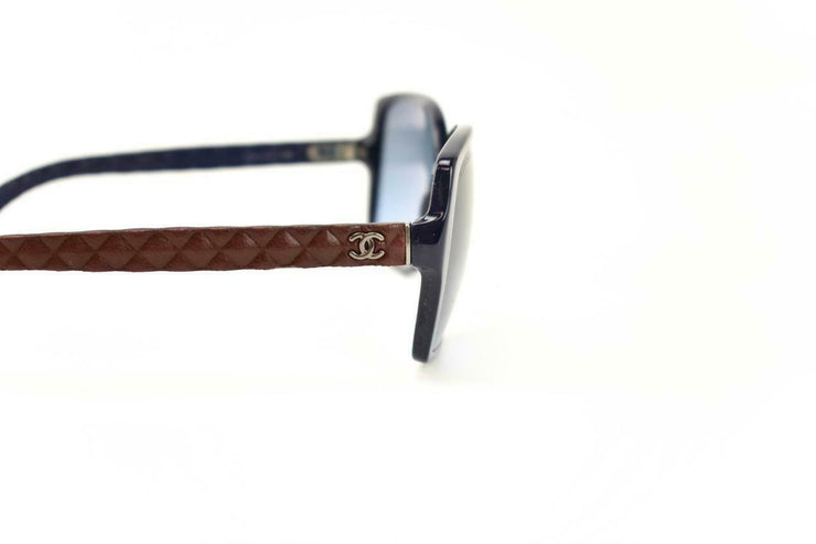 "CHANEL: Navy Blue & Burgundy Quilted Leather ""CC"" Logo Sunglasses (dx)"