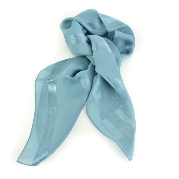 "GIVENCHY: Powder Blue, Striped ""G"" Logo 100% Silk, Scarf/Foulard 31"" x 31"" (mu)"