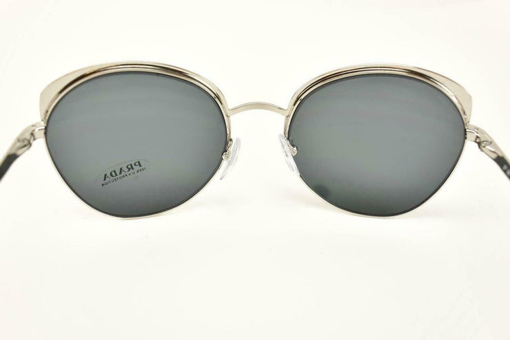 "PRADA ""Cinema"": Black & Silver, Logo Polarized Sunglasses (qv)"