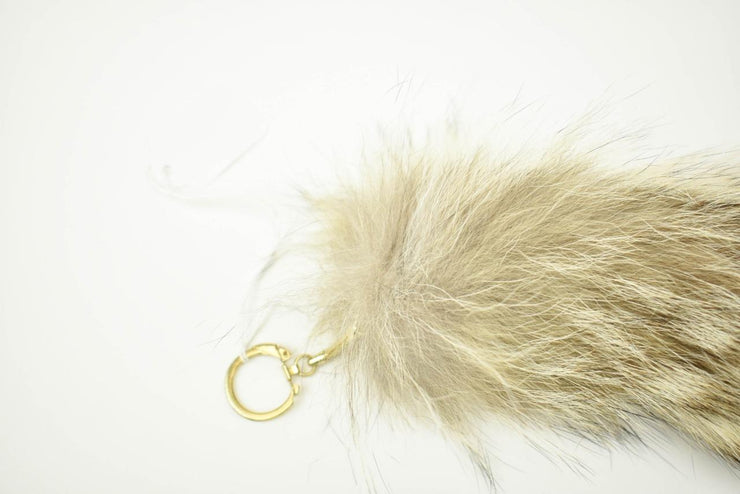 "Genuine COYOTE FUR TAIL: 18"" Long Handbag Accent Charm, Key Chain"