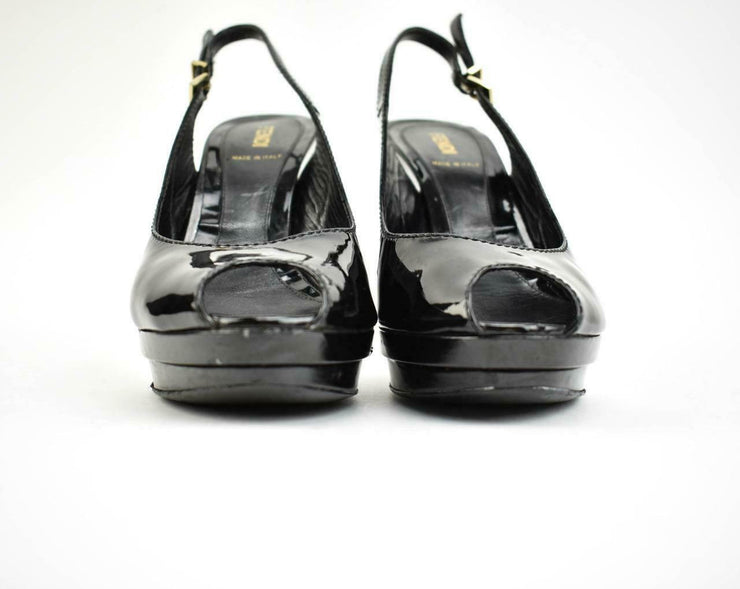 "FENDI ""Decollete"": Black, Leather & ""FF"" Logo Platform Heels Sz: 7.5M"