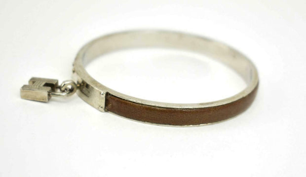 "HERMES ""Kelly H Lock"": Silver Metal, ""H"" Logo & Leather Bangle/Bracelet (nn)"