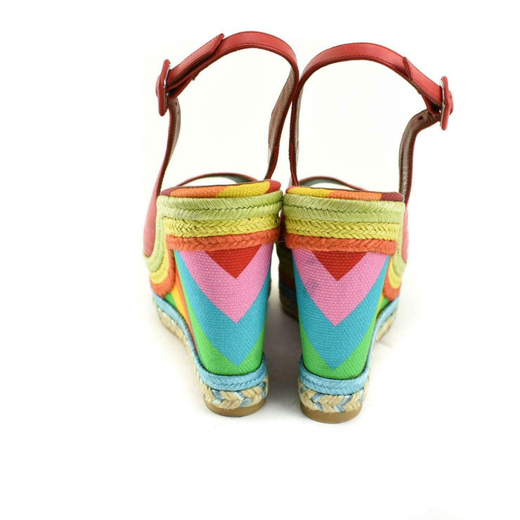 VALENTINO GARAVANI: Red, Leather & Multicolor Wedge Sandals/Heels Sz: 9.5M
