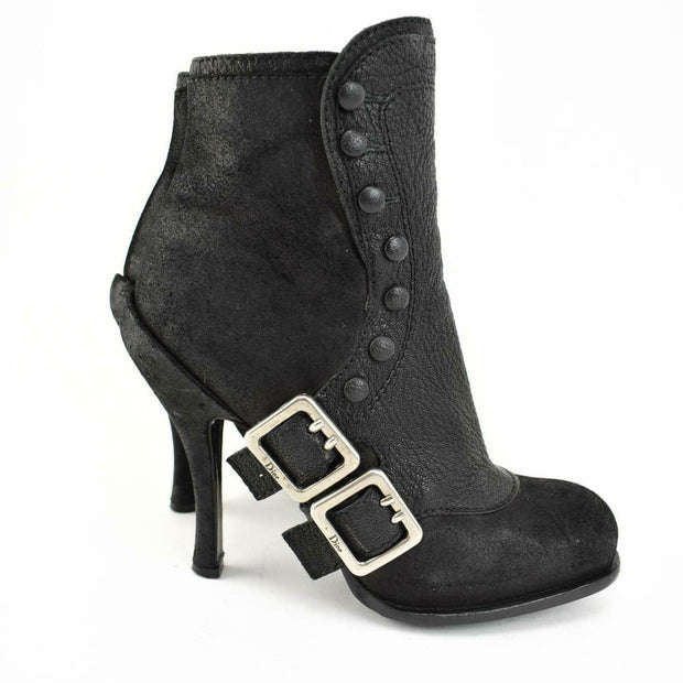 DIOR: Black, Leather & Silver Logo Buckle Ankle Boots Sz: 6M