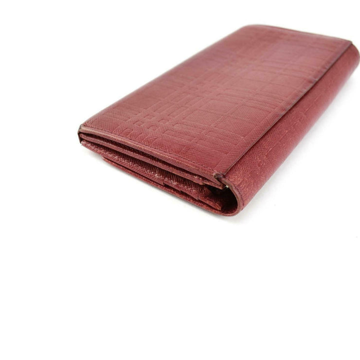 "BURBERRY: Red, Leather ""Heritage Check"" Logo Long Wallet (un)"