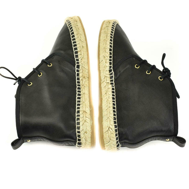 CLUB MONACO: Black, Leather Espadrille Hi-Tops/Flat Booties 6.5M