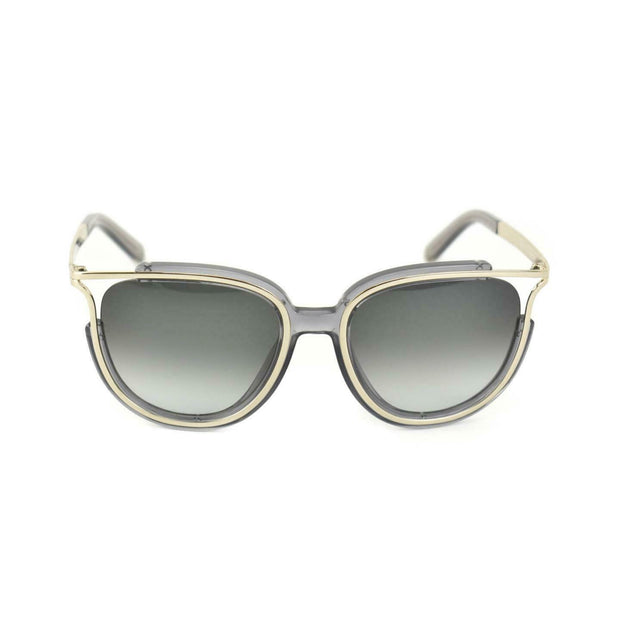 CHLOE: Translucent Gray & Pale Gold, Logo Sunglasses (mn)
