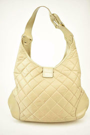 "BURBERRY: Beige, Quilted Nylon & ""Prorsum Knight"" Logo Medium Shoulder/Hobo Bag"