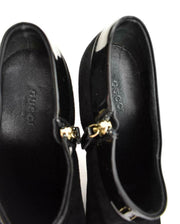 "GUCCI: Black, Leather & ""Horsebit"" Logo, Ankle Boots/Booties Sz: 9C"