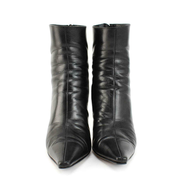 JIMMY CHOO: Black, Leather & Logo Short Boots Sz: 6M