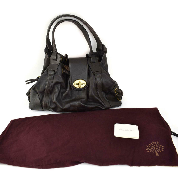 MULBERRY: Dark Brown, Leather & Logo Large Shoulder Bag (mn)
