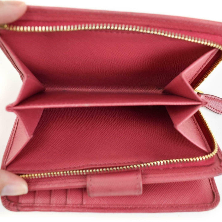PRADA: Peony Pink, Saffiano Leather & Logo Medium Folding Wallet (ns)