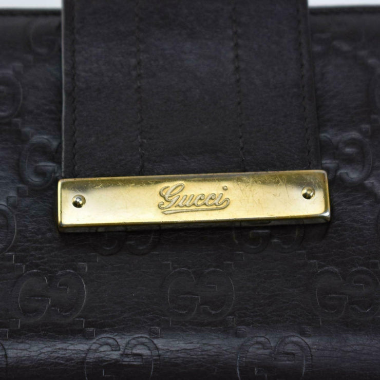 "GUCCI: Dark Brown, ""GG"" Leather & Logo Long Folding Wallet (nz)"