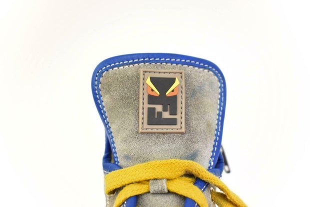 "FENDI ""Monster: Gray/Blue Leather & ""FF"" Logo Hi-Top Sneakers Sz: 7 (2-4 yrs)"