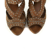 MIU MIU: Brown, Leather & Silver Studded Heels/Sandals Sz: 8M