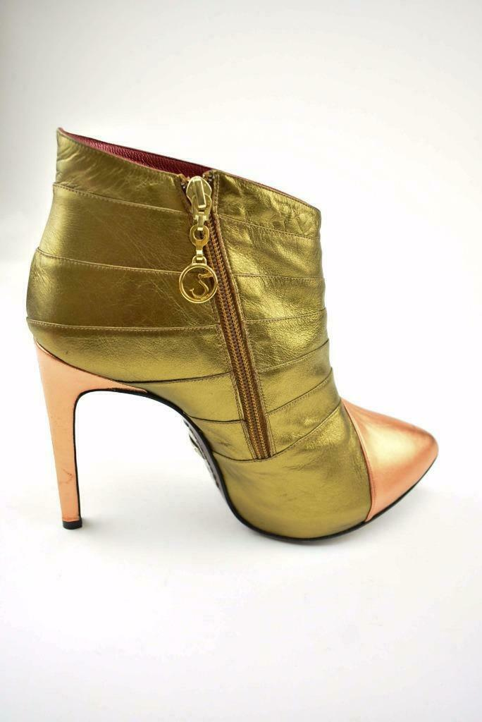 STRUTT COUTURE: Gold & Copper, Leather, Short Boots/Booties Sz: 10M