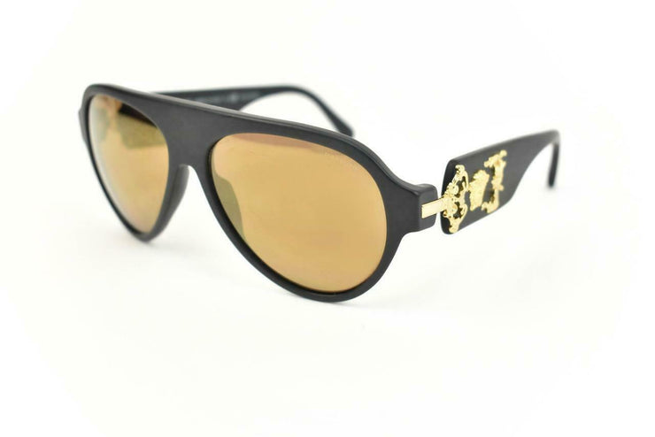 "VERSACE: Matte Black, ""Medusa"" Logo Mirrored, Polarized Sunglasses (po)"