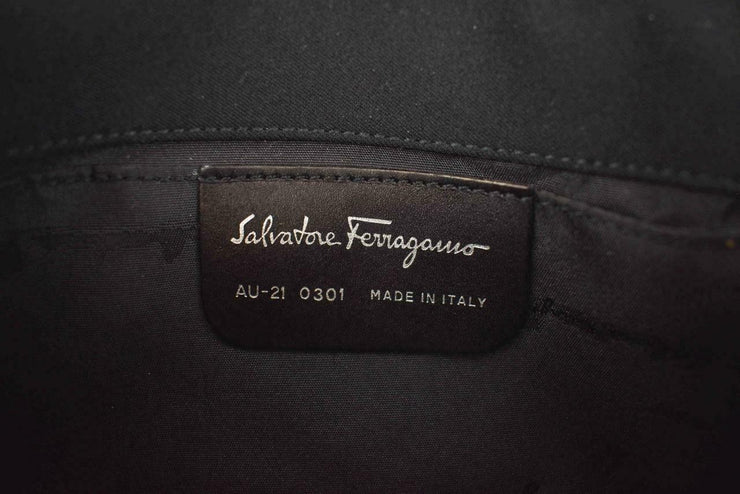 "SALVATORE FERRAGAMO: Black ""Vara Buckle"" & Logo Shoulder Bag (mt)"