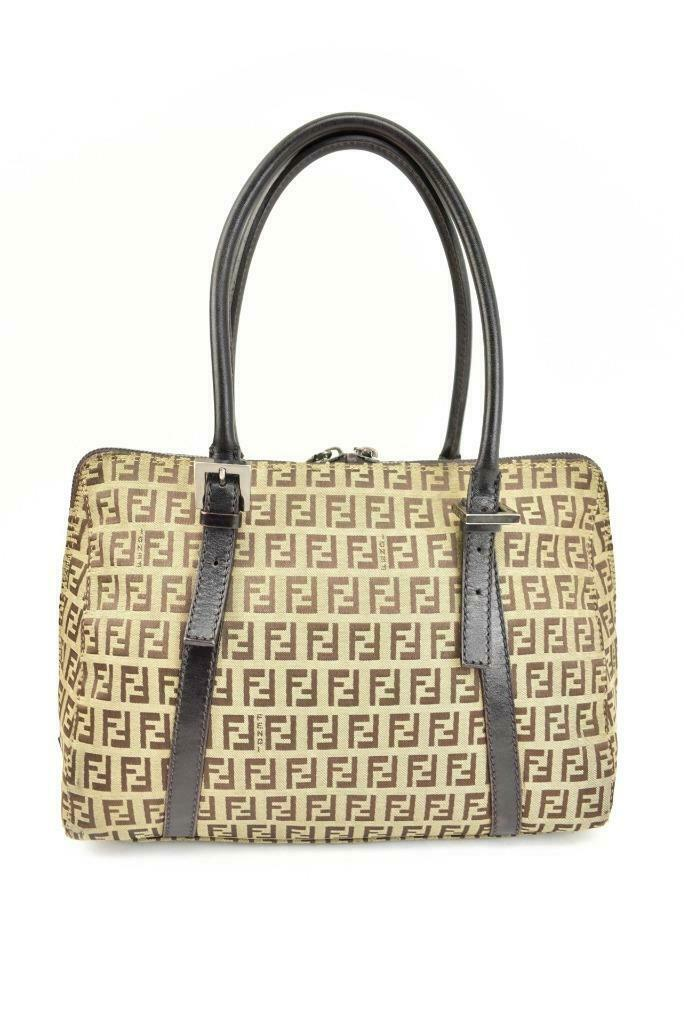 "FENDI: Dark Brown, Leather & ""FF"" Logo Medium Tote/Shoulder Bag (px)"