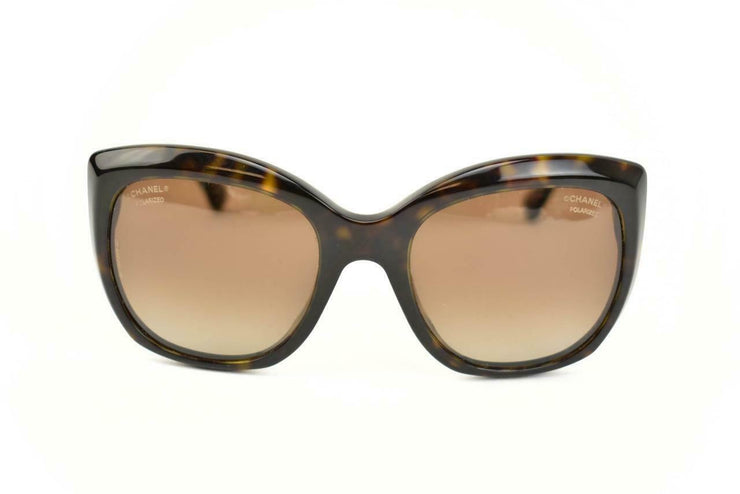 "CHANEL ""Cat Eye"": Dark Tortoise Brown & ""CC"" Logo Polarized Sunglasses (ar)"