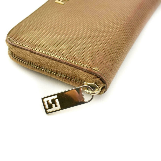 "FENDI: Metallic Brown, Leather & ""FF"" Logo Zip-Around Wallet (pq)"