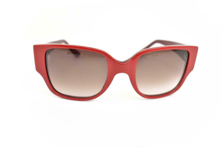"CARTIER: Burgundy/Red, & ""Double C"" Logo Sunglasses (nm)"