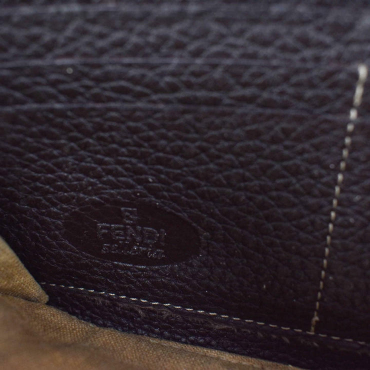 "FENDI ""Selleria"": Brown, Leather & ""FF"" Logo Long Zip-Around Wallet (rm)"