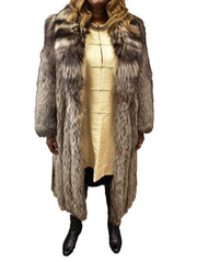 M SOLOMON: 100% Genuine Silver Fox, Women's Full Length, Fur Coat, Sz: 10