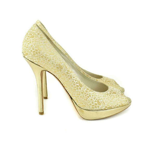 DIOR: Gold, Brocade Peep-Toe Logo Heels/Pumps Sz: 6.5M