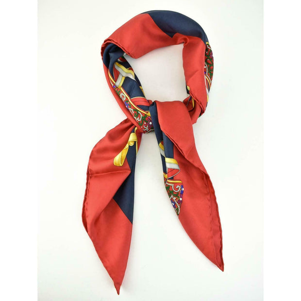 "SALVATORE FERRAGAMO: Red, 100% Silk ""Holiday Shoes"" Scarf/Foulard 34"" x 34"" (rs)"