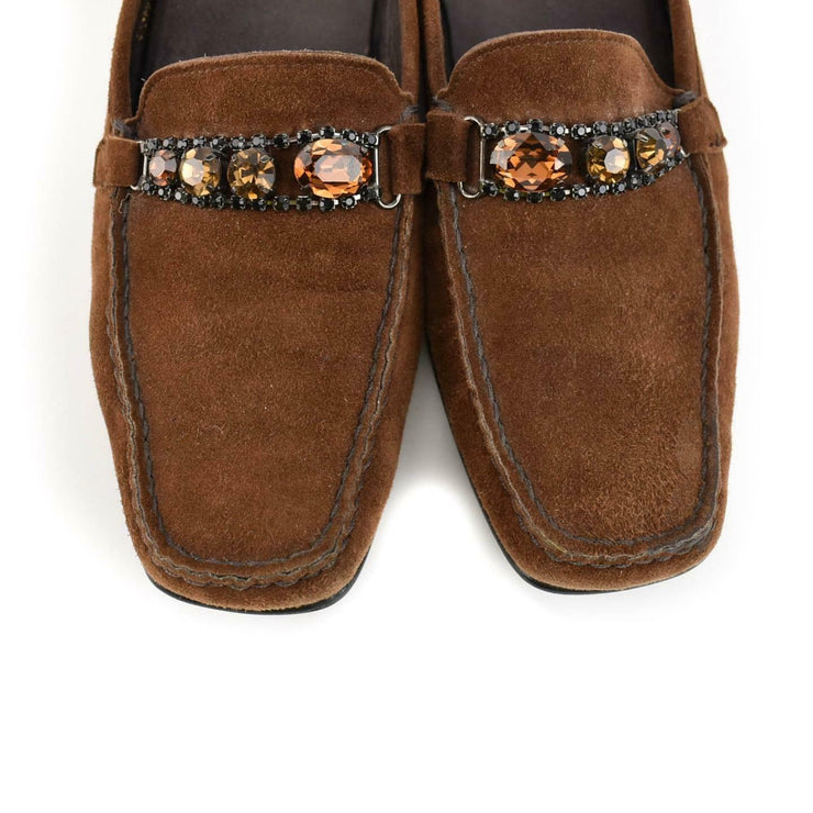 "STUART WEITZMAN: Brown Leather & ""Jewels"" Loafers/Slides Sz: 7M"