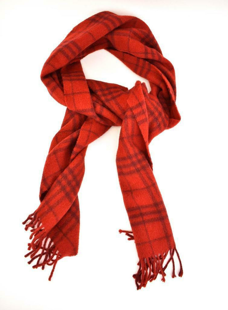 "BURBERRY London: Red, ""Nova Check"", 100% Cashmere Long Scarf 66"" x 12"" (qr)"