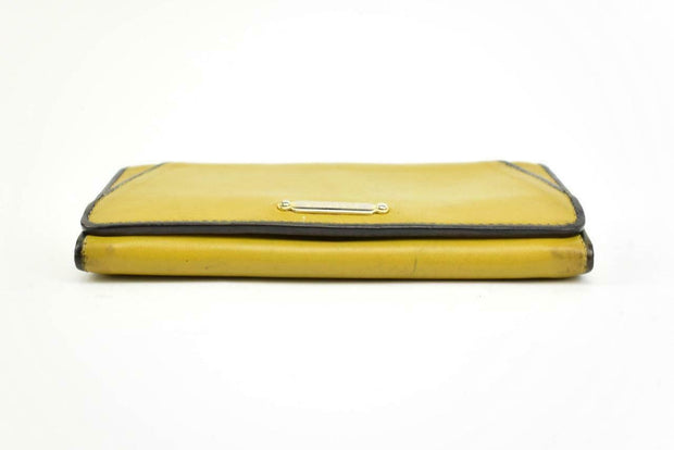BURBERRY: Chartreuse, Leather & Logo Long Continental Wallet (rz)