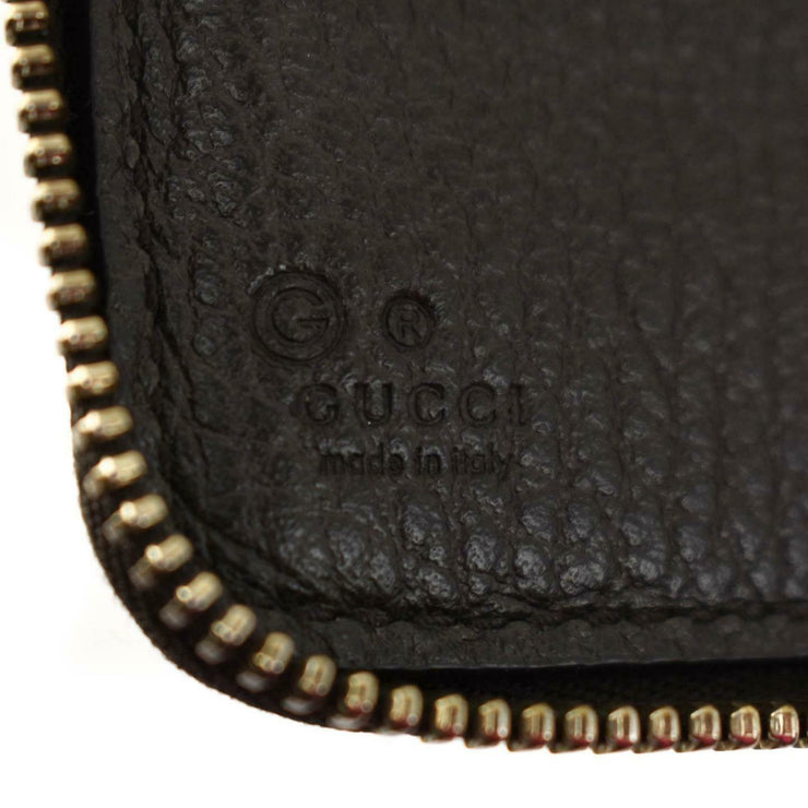 GUCCI: Brown, Leather & Logo Long Zip-Around Wallet (ns)